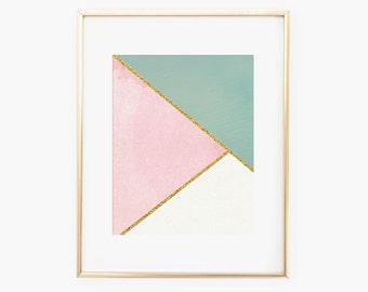 Minimalist Geometric Artwork with Gold/Instant Download/Nursery Artwork/Printable Digital file/8x10 Nursery Decor/Kids Decor/Home Decor