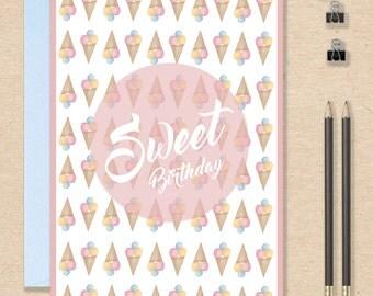 ice cream cone birthday card - FREE Shipping !!!