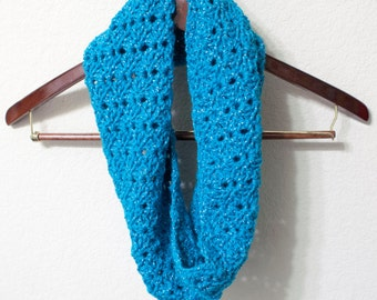 Blue Christmas Cowl, Scarf, Infinity Scarf