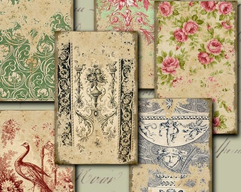 Tattered Wallpaper - digital download - gift tags - labels - decoupage - scrapbooking - crafts - Raspberry Hall