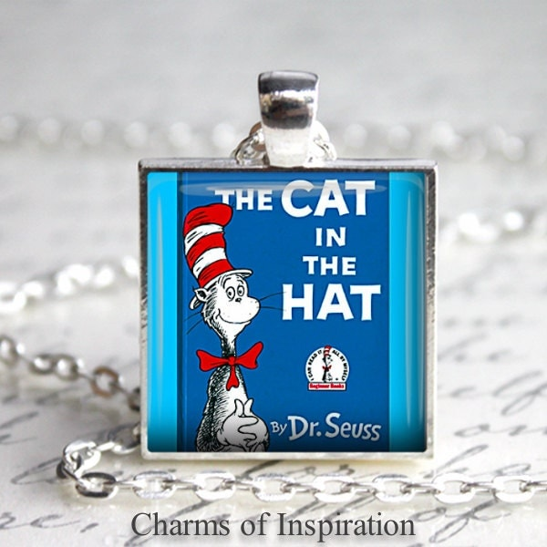 The cat in the hat book necklace book jewelry dr seuss for Cat in the hat jewelry