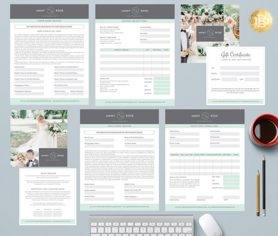 Bundles of Photography Business Form and Contracts - Session Contract, Pricing Guide, Model Release, etc . MS Word & Photoshop Form - PSF002
