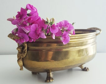Footed Brass planter with Ornate Winged Eagle Handles - Decorative planter - Brass storage container