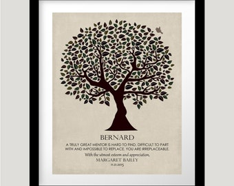 Personalized Gift For Mentor Gift For Boss Colleague Principal Confidant Tree of Life Custom Art Print Choose Paper Canvas Metal Plaque 1202