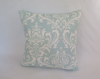 Cotton Accent Pillow - Traditional Robin Blue & White Print 20 Inch