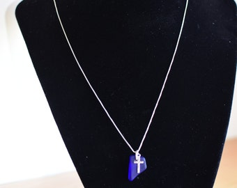 "18"" Sterling Silver - Deep blue sea glass and silver cross - Israel"