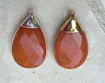 Orange Jade Quartzite Teardrop Pendant Sterling Silver Bezel