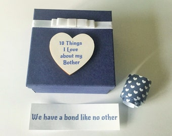 Brother 10 things I Love about message in a box personalised unusual keepsake Birthday Christmas Gift