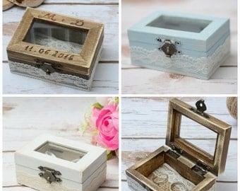 Wedding Ring box Glass Ring box Holder Rustic Shabby chic ring bearer Ring Bear wooden ring box Personalized white ring box