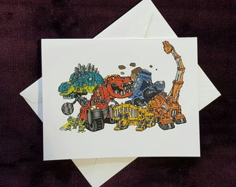 Dinotrux Note Cards, Thank You Cards, Invitations, Notecards, Birthday Party, Set of 6 or 12 with Envelopes