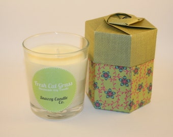Fresh Cut Grass Scented Handmade Soy Candle