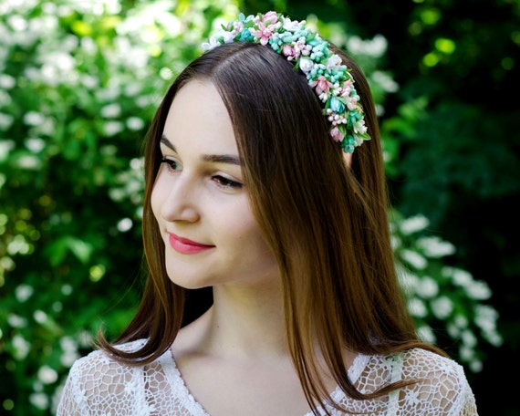Mint green / soft pink / ivory wedding flower crown / Vinok / Ukrainian headband / tulip lily crown /