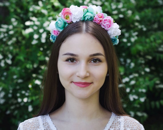 Mint green / soft pink / white floral crown / rose headband / vinok