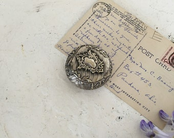 Vintage French silver plated engraving pill box