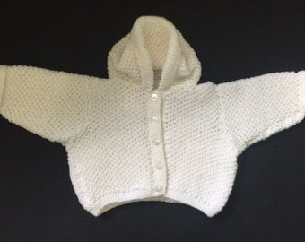 Hand Knit Baby Sweater - Baby Hooded Cardigan - White - Perfect for Baby Showers - Baby clothing - Knit sweater - Hooded Sweater -