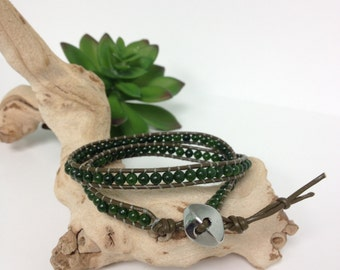 Handmade Double Wrap Taiwan jade Olive Green Leather Bracelet (M043)