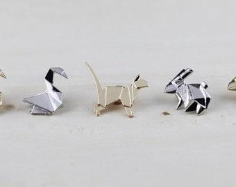 Swan/ Rabbit/Dog Brooch Geometric/Animal Brooch Geometric Minimal Jewelry/Origami Pin/Origami Geometric Brooches/Doggy/ Bunny Origami Pin