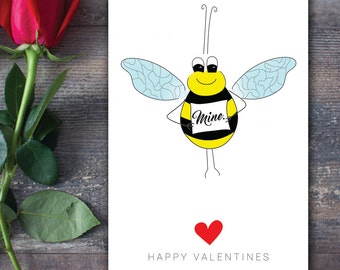 Bee Mine Valentine - Happy Valentines Card :) WITH SEEDS for Bee & You