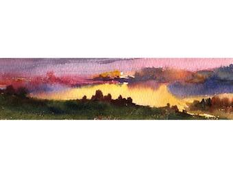 Sunset landscape watercolor