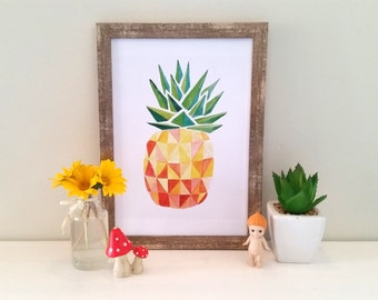 Geometric Pineapple Watercolour Print (8x10inch), home decor, geo art, modern wall art, pineapple art print