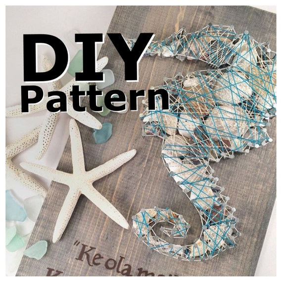String art string art pattern seahorse string art sea shell Diy beach home decor pinterest