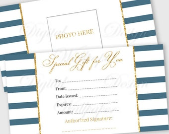 Printable Gift Certificate,Gift Card, Gift Certificate,Gift Certificate Printable,Digital Gift Certificate,Gold Glitter Gift Card,Nautical
