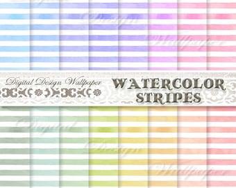 Watercolor Digital Paper,Watercolor Digital Paper Pack,Stripe Digital Paper,Watercolor Stripes in pastel,orange,pink,yellow,green,red,teal