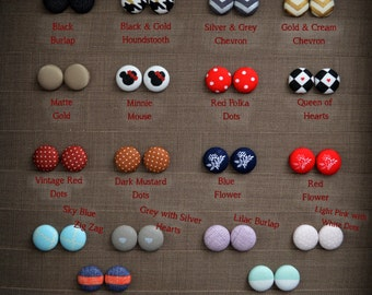 Adorably Comfortable Fabric Button Earrings~Size 3/4 in