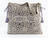 Crochet Shoulder Drawstring Bag Pattern - Hippie Boho Chic Festival Style Purse - Square Motifs Bag - Instant PDF download