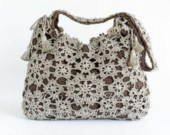 Crochet Purse PATTERN - Window Frost - Handbag, Messenger, Shoulder Bag, Crossbody, Drawstring - Lace Motifs - PDF