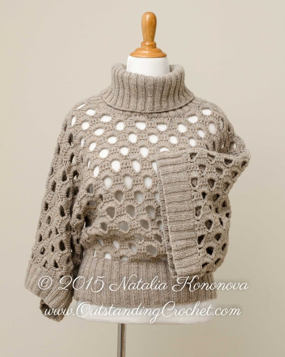 Crochet Knit Turtle Cowl Neck Sweater Top by ...