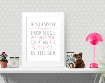 Nursery Art Print Decor, If you want to know how much we love you, Pink Grey, 8 x 10 and 16 x 20, Inspirational Motivational Wall Art | #012