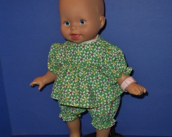 12 in Fisher Price or Berenguer Baby Green Dress and Panties with White Flowers