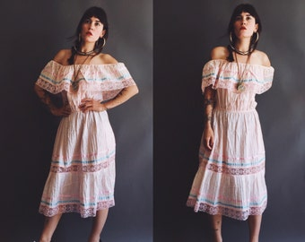 Vintage 70s MEXICAN WEDDING dress pin tucked powder pink drop shoulder FESTIVAL dress