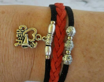 Cheer Charm Bracelet// Red & Black Friendship Bracelet// Girl's Sports Bracelet// Cheerleader Gift// Choose Sports Charm and Cord Colors