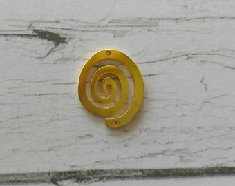 Gold Spiral Connectors// Gold Swirl Charms// Round Spiral Pendants// Spiral Links// 2 pieces
