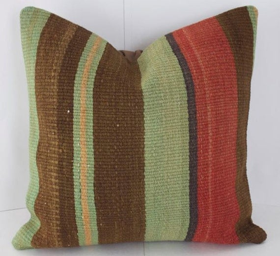 red brown sage pillow kilim pillows decorative pillows 16x16. Black Bedroom Furniture Sets. Home Design Ideas
