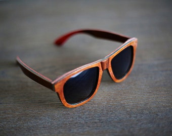 Polarized Wooden Wayfarer Sunglasses - 100% UV Protection | Handcrafted Wood - Comes with Wooden Box + Burlap Bag