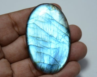 125.40 Carats Blue Fire Labradorite Cabochon Gemstone, Oval Shape, Black Rainbow, Gemstone For Pendant, 37x59mm Approx