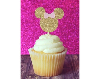 Minnie Mouse Cupcake Toppers. Pink and Gold Minnie Mouse. Minnie Birthday. Girl's Birthday. First Birthday. Minnie Mouse Party.
