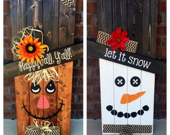 Reversible Scarecrow Snowman, Pallet Sign, Porch Decor, Porch Sign, Seasonal Decoration, Reversible Sign
