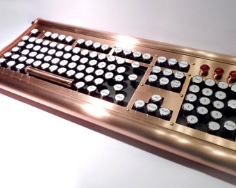 Steampunk keyboard retro / vintage steam engine / handmade / handcrafted