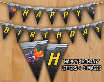Dart Banner - INSTANT DOWNLOAD - Dart Tag Gun Banner Printable -  Happy Birthday Dart war Gun Decorations Ideas