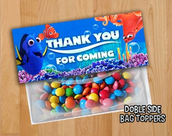 Finding Dory Favor Bag Toppers - INSTANT DOWNLOAD - Finding Dory Nemo Treat Bag Topper - Birthday Printable Dory Nemo