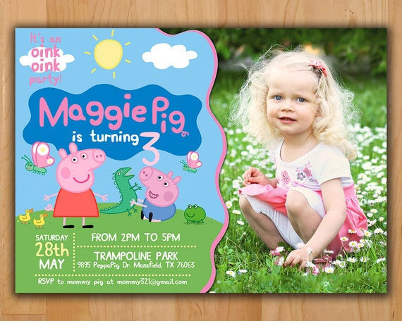 Peppa Pig Party Invitations Personalised