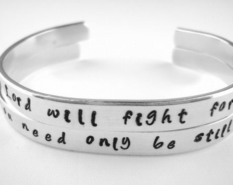 The Lord will fight for you, you need only be still Exodus 14:14 hand stamped aluminum bracelet adjustable cuff, hand stamped bible verse