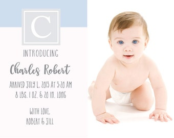 Digital Printable Birth Announcement - Blue Grey - Digital File ONLY