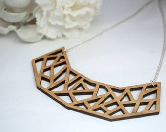 Bamboo Laser Cut Geometric Cut Out Necklace