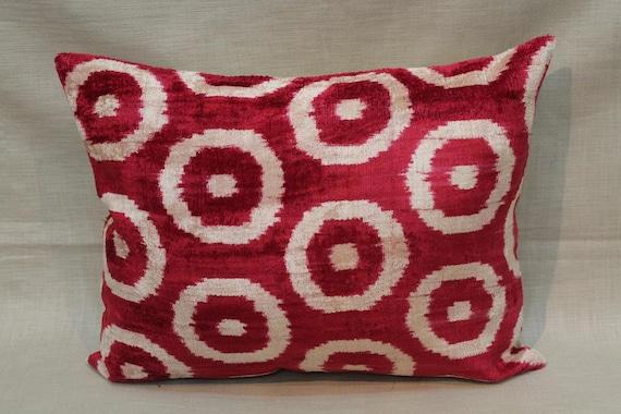 Red Ikat Velvet Pillow Case 16'' X 20