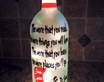 Dr. Seuss the more you read wine bottle light